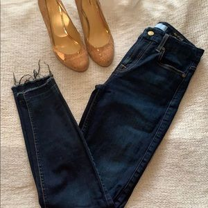 7 for all mankind dark jeans with released hem